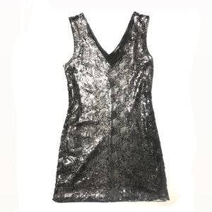 Express Black Grey Sequin Cocktail Dress Medium